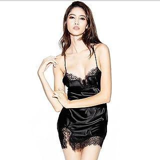 Boxer Briefs Women's Satin Nightdress Lingerie Babydoll Chemise Nightwear Slip (Size : Black-XL)