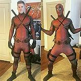 2017 Halloween Lycra Spandex Full Body Deadpool Avengers Cosplay Costume Suit (Full Custume Without Weapons, Belt, Back Belt For Sword, Adult M)