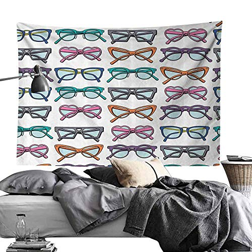 Polyester Tapestry Vintage Decor Collection Colorful Bohemian Glasses with Heart Shapes Chic Stylish Optic Hippie Illusion Girls Bedroom Home Decor W24 x L20 -