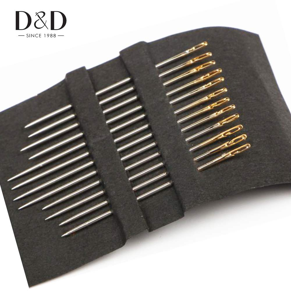 Sewing Tools 12Pcs Self-Threading Needles Gold Tail Easy to Go Through from Side Sewing Embroidery Tool Side Opened Handy Sewing Needles