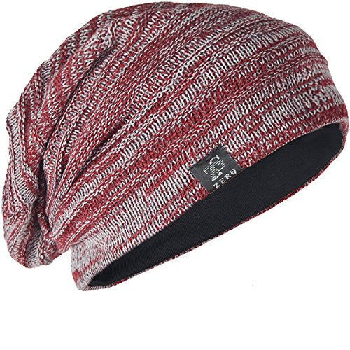 Vintage Men Baggy Beanie Slouchy Knit Skull Cap Hat (Red with Gray)