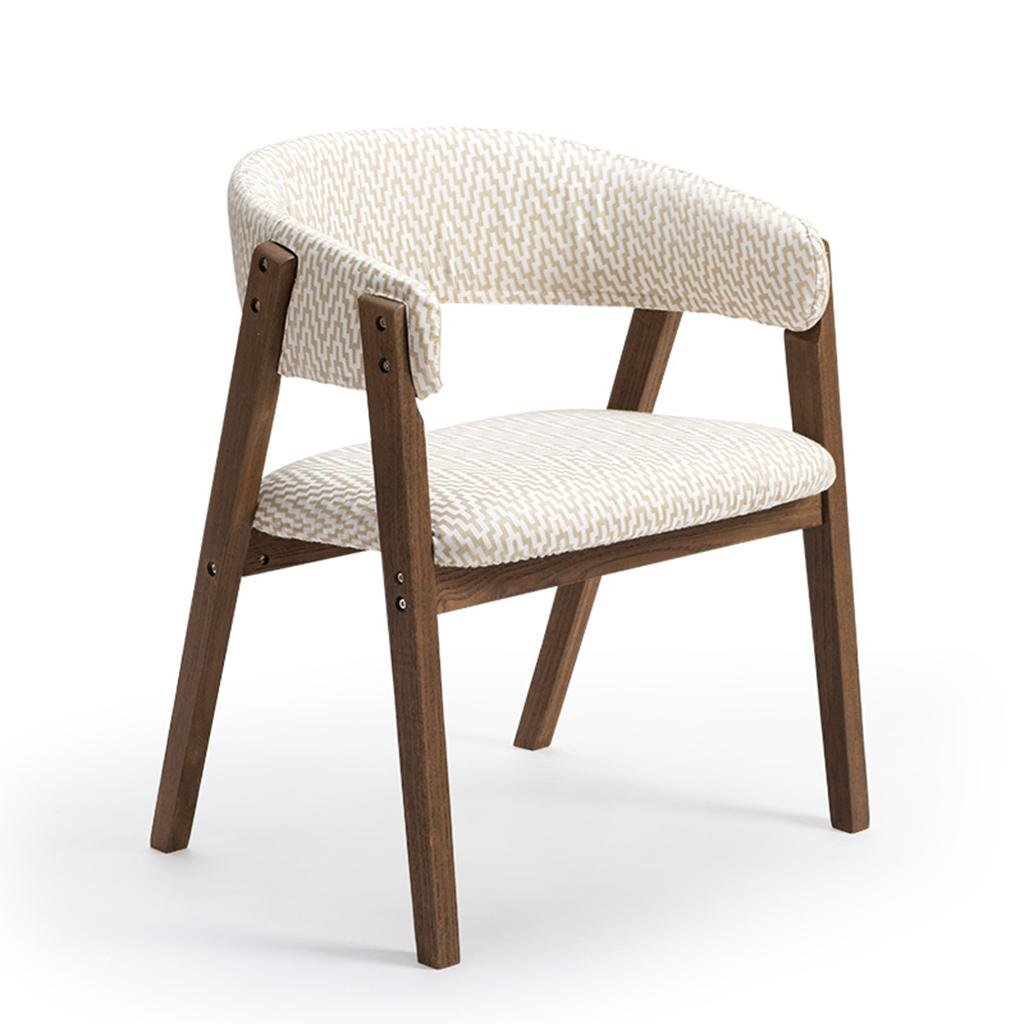 2 A Stool Simple Chair All Wood Stent U-Shaped Backrest Linen with PU Seat Leisure Armchair 60  55.5  75.5cm Suitable for Cafe Restaurant Living Room Breakfast Chair, 1, A,Simple