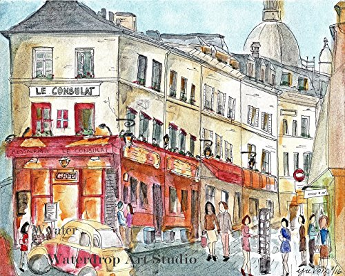 Le Consulat Cafe Art, French Art Print, Paris Street Scene Art, French City Scene Art Print, European Art Print, Whimsical Travel Art, Paris Art Print