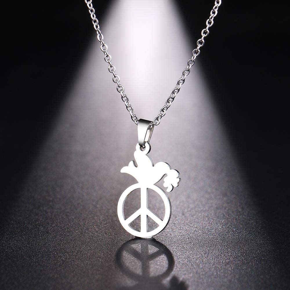 smydp Necklaces Womens Stainless Steel Necklace Mens Peace Pigeon Gold and Silver Pendant Necklace Engagement Accessories