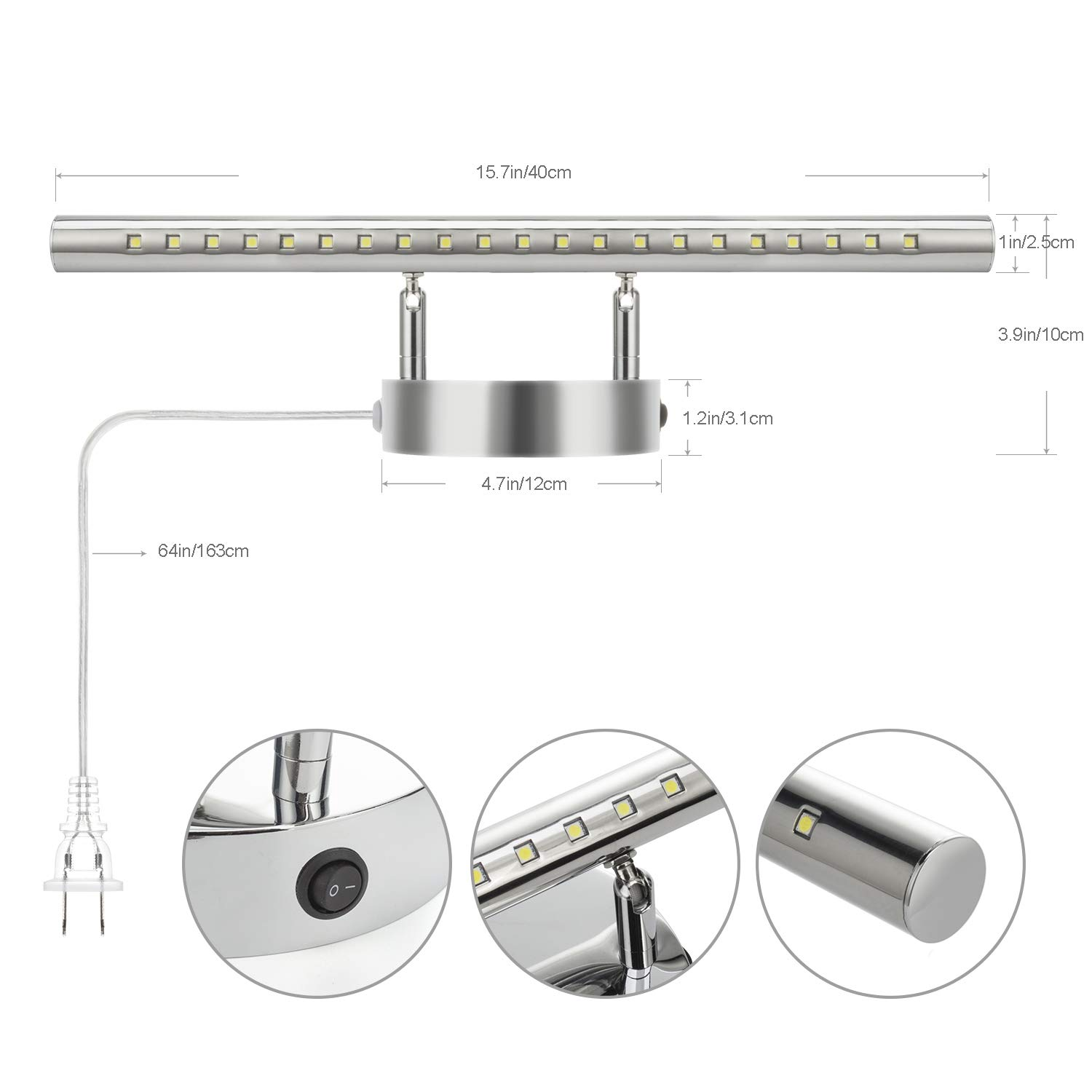 LED Bathroom Vanity Light Fixtures with on/Off Switch ...