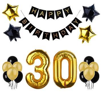 BSL Decoraciones de la fiesta de cumpleaños 30 de Kit, Bandera del feliz cumpleaños,
