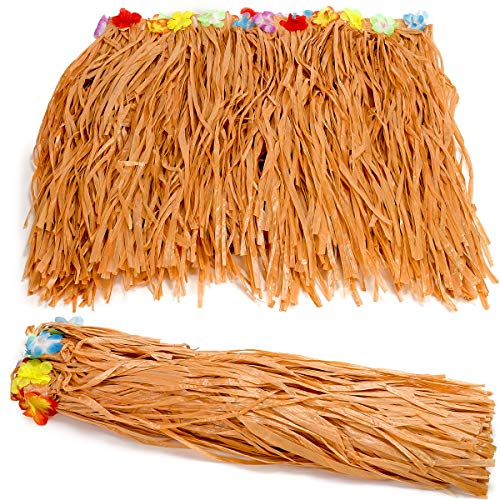 (Kicko Luau Hawaiian Grass Table Skirt Decorations - 2 Pack 9 Feet X 29 Inches - Real Hawaiian Island Party Feel - Party Decoration, Events, Birthdays,)