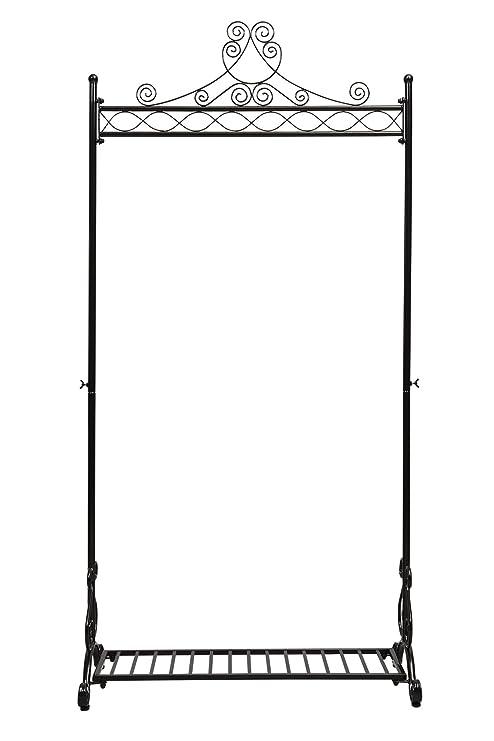 NEUN WELTEN Vintage Perchero Blanco para Prendas Soporte para Colgar Ropa con Estante de Zapatos Metal (Negro)