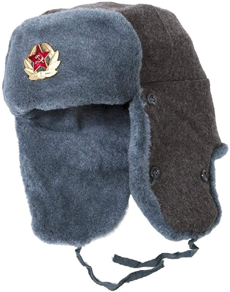 Russian Army Ushanka Authentic Winter Hat Soviet USSR Army Soldier Red Star WW2 (60 (L))