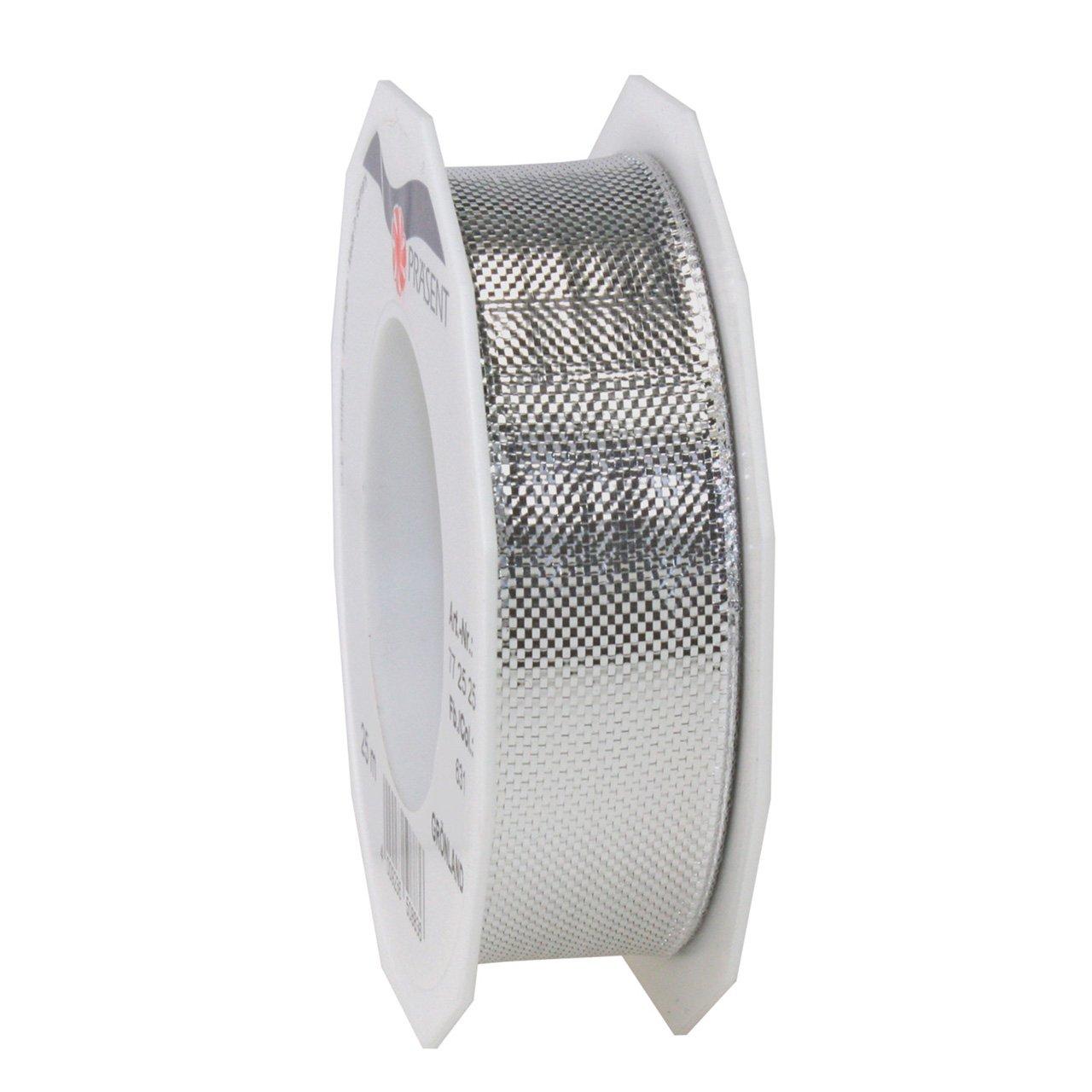 Morex Ribbon 07725/25-631 メタリックグリッマーリボン 1インチ x 27ヤード シルバー   B00QLOL7GU