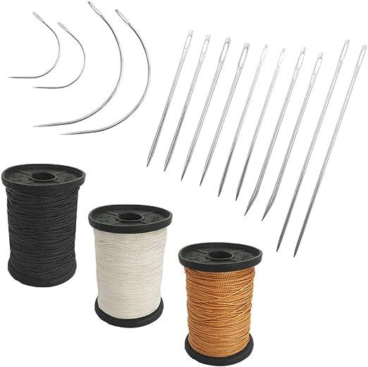Juego de 17 agujas de mano resistentes para el hogar y hilo de tapicería extra fuerte,