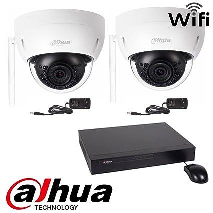 Kit Dahua 2 Cámaras WiFi 3 MPS hdbw1320e-w + grabador de 4 Vías nvr4104h