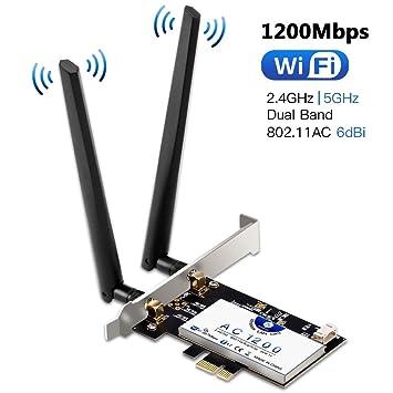 Tarjeta de Red Wi-Fi con Bluetooth 4.2, Hommie 1200M 867mbps Adaptador de Red Gigabit PCI, Inalámbrico Express Doble Banda 802.11ac, Intel 7265AC ...