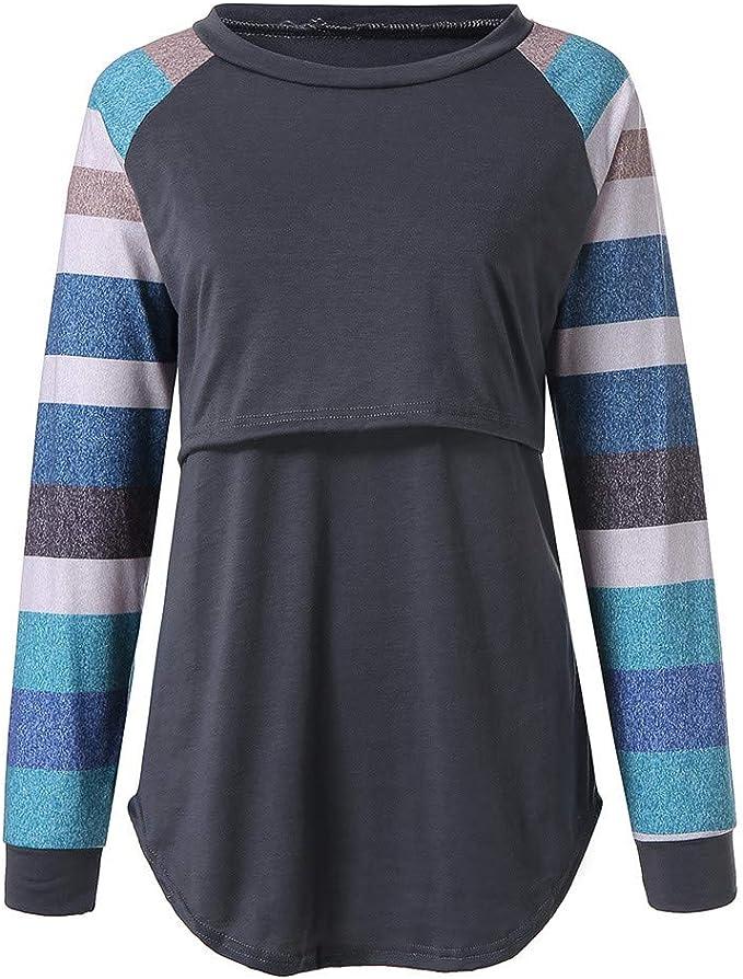SANFAHSION Shirt de Maternit/é,Blouse dallaitement Brassi/ère Manche Longue Grossesse Top Col Haut Couture Mode Tee Shirt Confortable Hiver