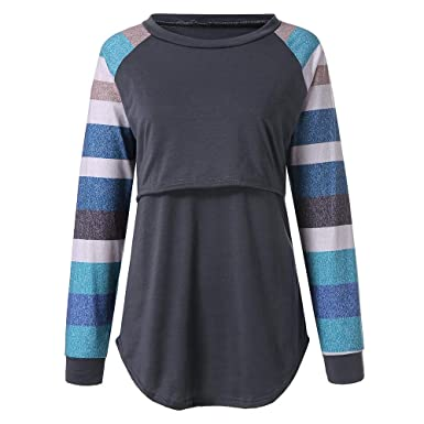 632f37c3396 HEETEY Maternity Womens Nursing Stripe Long Sleeve Round Neck Breastfeeding  Blouse Polyester Pregnancy Clothes for Mom: Amazon.co.uk: Clothing