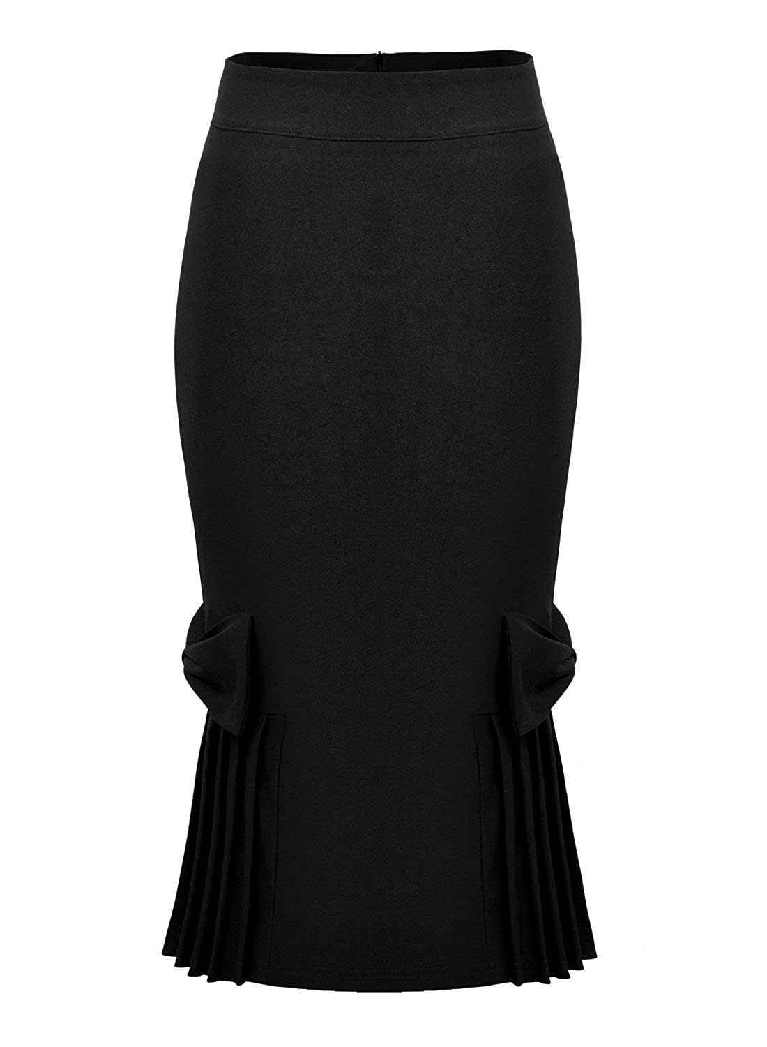 Missmay Damen kleid Knielang Stretch Business Rock Abendkleid Cocktail Etuikleid schwarz Gr.S-XXL