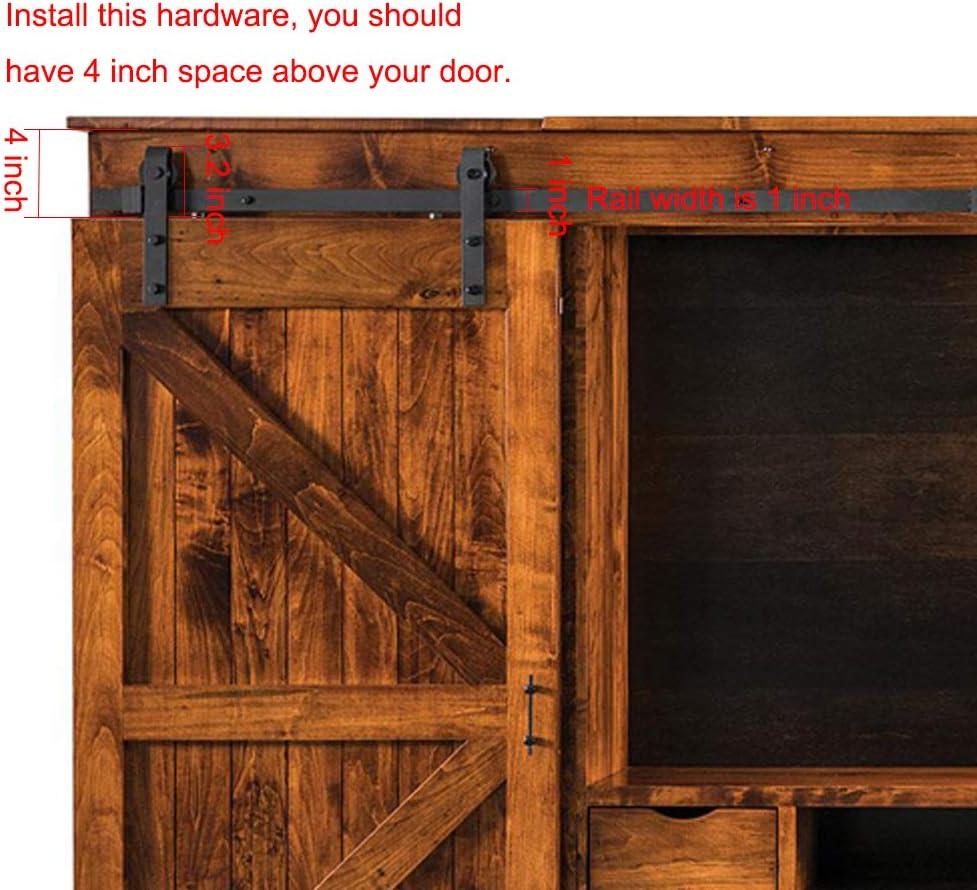 Zekoo Super Mini Schiebet/ür Hardware Kit J Form Aufh/änger flache Schiene f/ür Scheunent/ür f/ür Schrank TV St/änder Konsole 3FT Single Door Kit