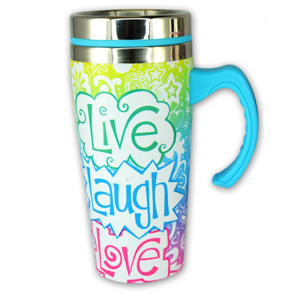 16 oz. Stainless Steel Thermal Printed Travel Coffee Mug with Lid and Handle - Live Laugh Love