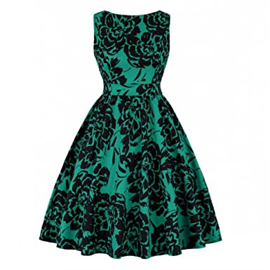 Women Floral Print Vintage Dress 50S 60S Christmas Party Sundress at Amazon  Women s Clothing store  c78a990f5