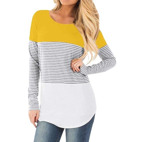 YiYLinneo Lactancia De Maternidad para Mujeres Camiseta Mangas Embarazada Cuello  Redondo Color Bloque Verano Ropa Capa Blusa Camiseta para Mamá  Amazon.es   ... 4b6041d20ffc