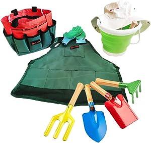 JoyTown Kids Gardening Tool Set –Real Metal Gardening Tools Includes Shovel, Rake, Trowel & Fork, Children's Garden Kit with Hat, Apron, Gloves, Tote Bag, Sprayer and Bucket, Outdoor Gardening Gifts