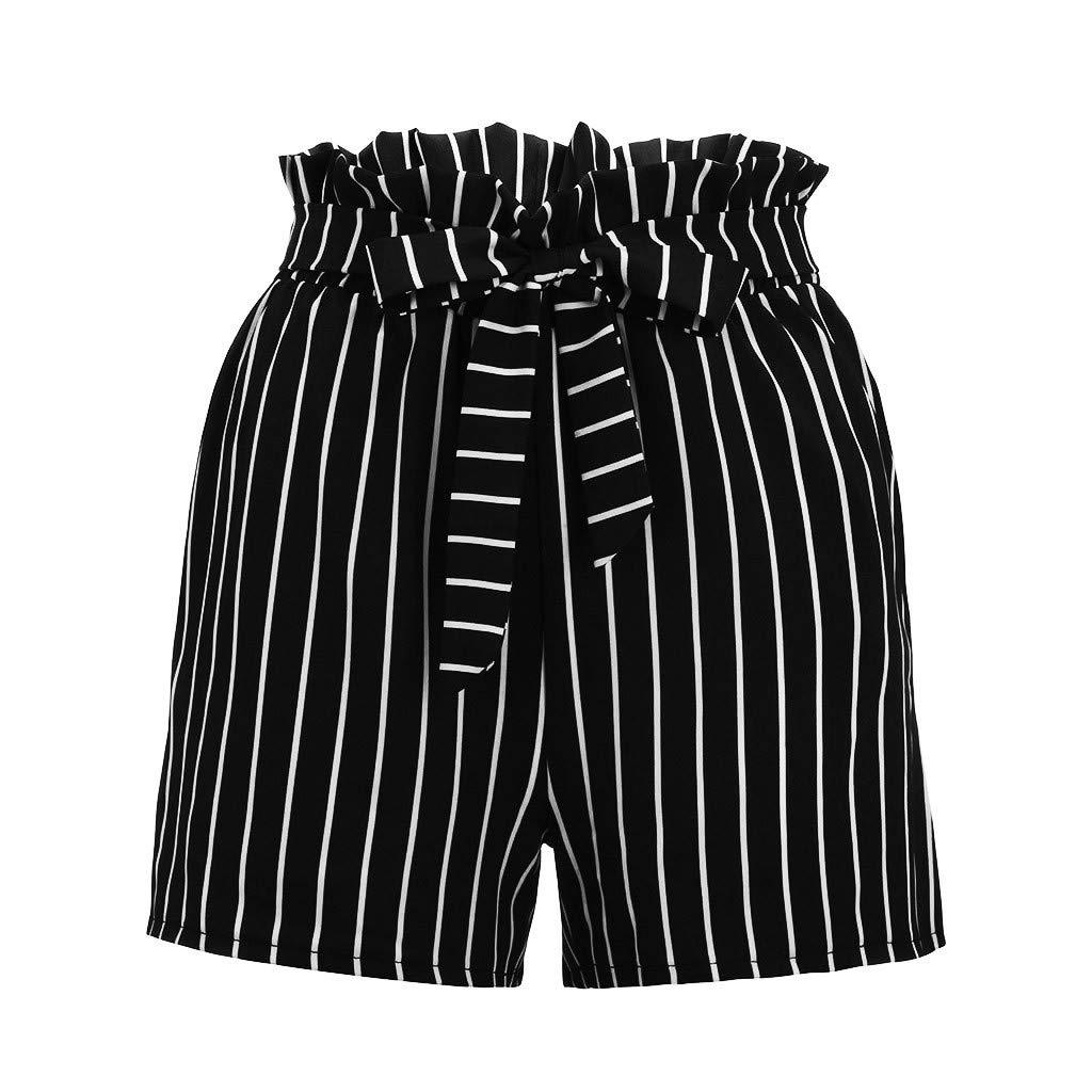 JOFOW Womens Shorts Vertical Stripe Pleated Ruffle Drawstring Casual Loose Mini Pants
