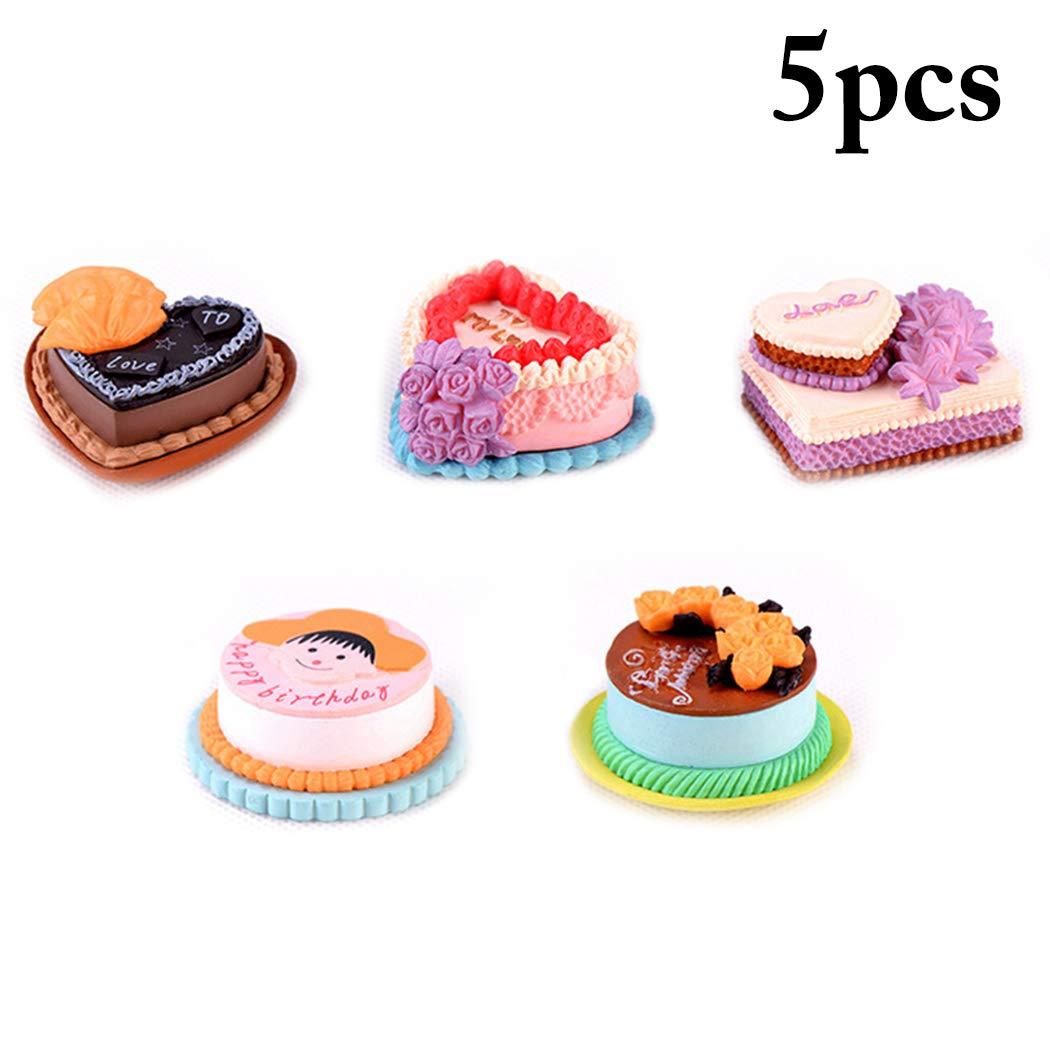 JUSTDOLIFE 5PCS Micro Paesaggio Ornamento di Torta in Miniatura Ornamento dei Bonsai per Arredamento