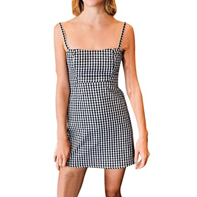 Lolittas 2018 New, Glam Women Sleeveless Off Shoulder Plaid Check Strappy Tunic A-Line