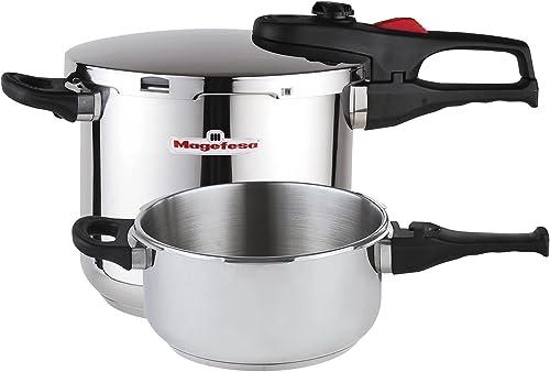 Magefesa Practika Plus Stainless Steel 4 and 6 Quart Super Fast Pressure Cooker Set