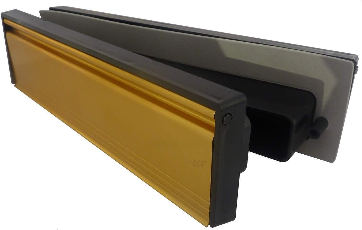 292 x 75 mm Stormguard Fente /à lettres en m/étal pour porte avec brosse et rabat Externe Interne 256 x 46 mm dor/é