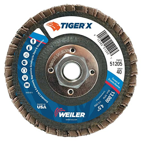 Weiler 51205 Tiger x Flap Disc, 4 1/2 In Angled, 40 Grit, 5/8 In - 11 Arbor (Pack of 10), Dark Gray