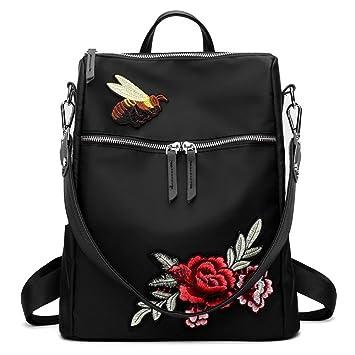 c72cc64a385ea Sensexiao Beiläufiger Frauen-Rucksack-Handtaschen-Blumen-Stickerei-Reißverschluss-Wasserdichte  Oxford