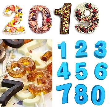 Números Arábigos Moldes de Silicona para Repostería - Molde De Silicona Para Magdalenas Muffins astel Mazapán Fondant Jelly Chocolate y Jabón - Hecho a Mano ...