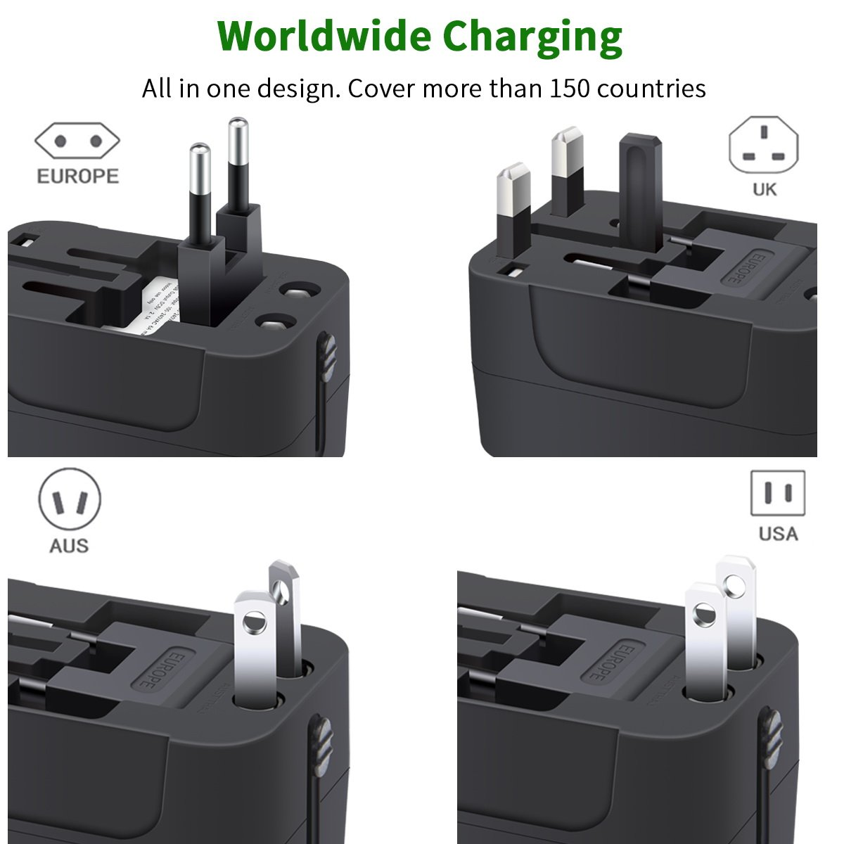Travel Adapter, Worldwide All in One Universal Travel Adaptor Wall AC Power Plug Adapter Wall Charger with Dual USB Charging Ports for USA EU UK AUS Cell Phone Laptop by MINGTONG (Image #2)