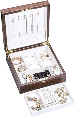 LIYANSSH - Cajas para joyas Joyero de Madera, Organizador de joyería de Terciopelo Bandeja de Pulsera Desmontable, 2 Capas for Mujeres y niñas, aretes, Collar y Organizador de Reloj con Cerradura: Amazon.es: