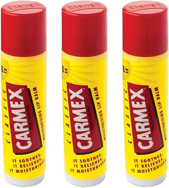 carmex Classic Labios Bálsamo Stick (LSF 15), 3 Pack (3 x 4 G): Amazon.es: Belleza