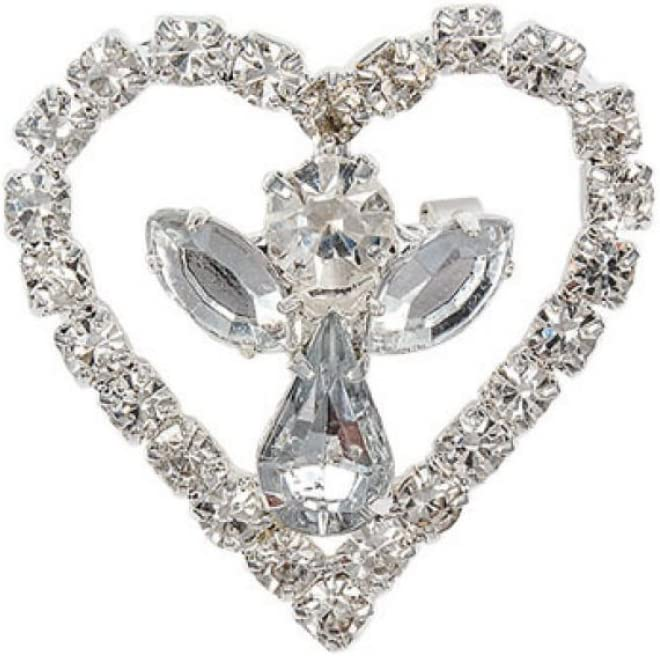 Rhinestone Heart /& Angel Pin Brooch