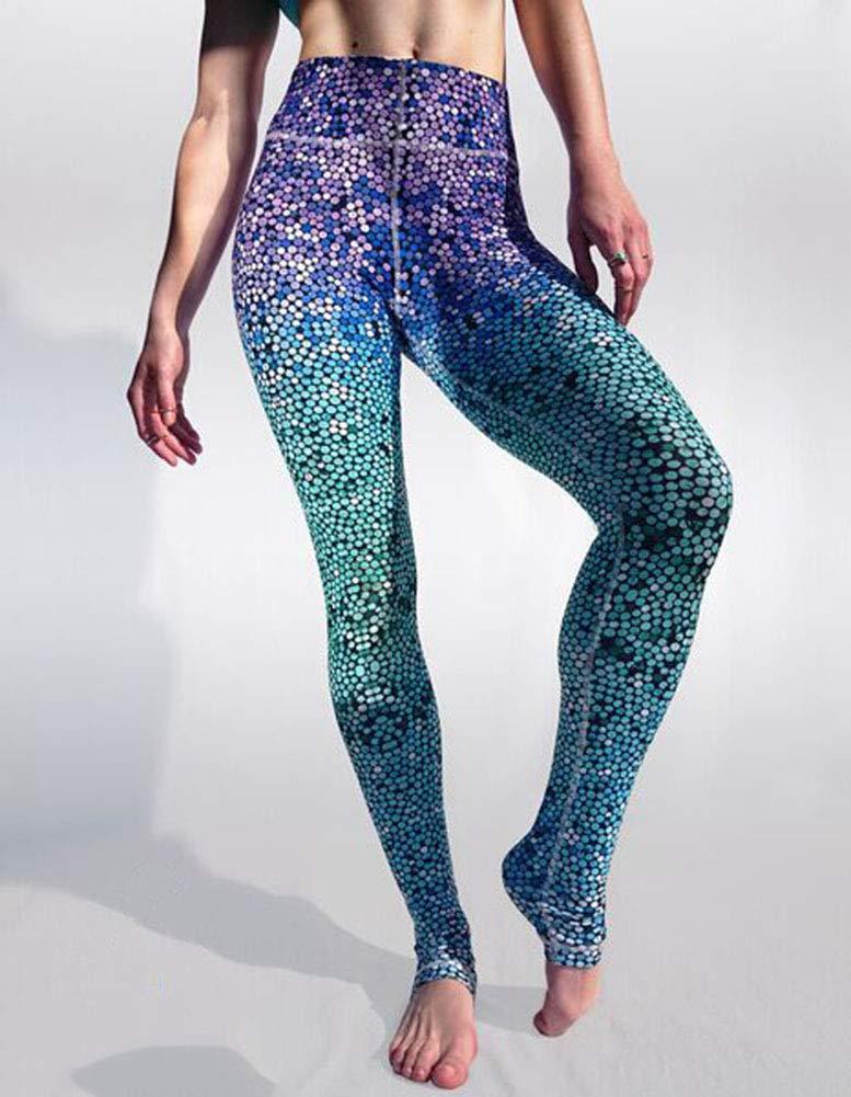 Frauen Yoga Hosen hohe Taille dünne Hüften - schöne Meerjungfrau Farbverlauf atmungsaktiv Sweat Sweat Pants - Herbst und Winter