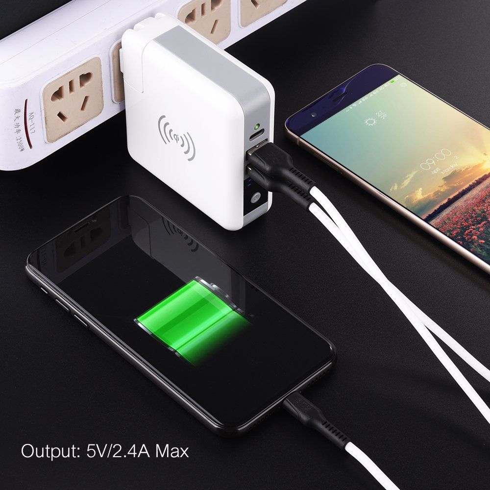 Wireless Power Bank Travel Charger, Asunflower 3 in 1 Wireless Portable Charge USB Type-C Adapter Wall Charger 6700mAh Digital Display Powerbank Replaceable Plug for Smartphone Tablet Laptop (4 Plugs)