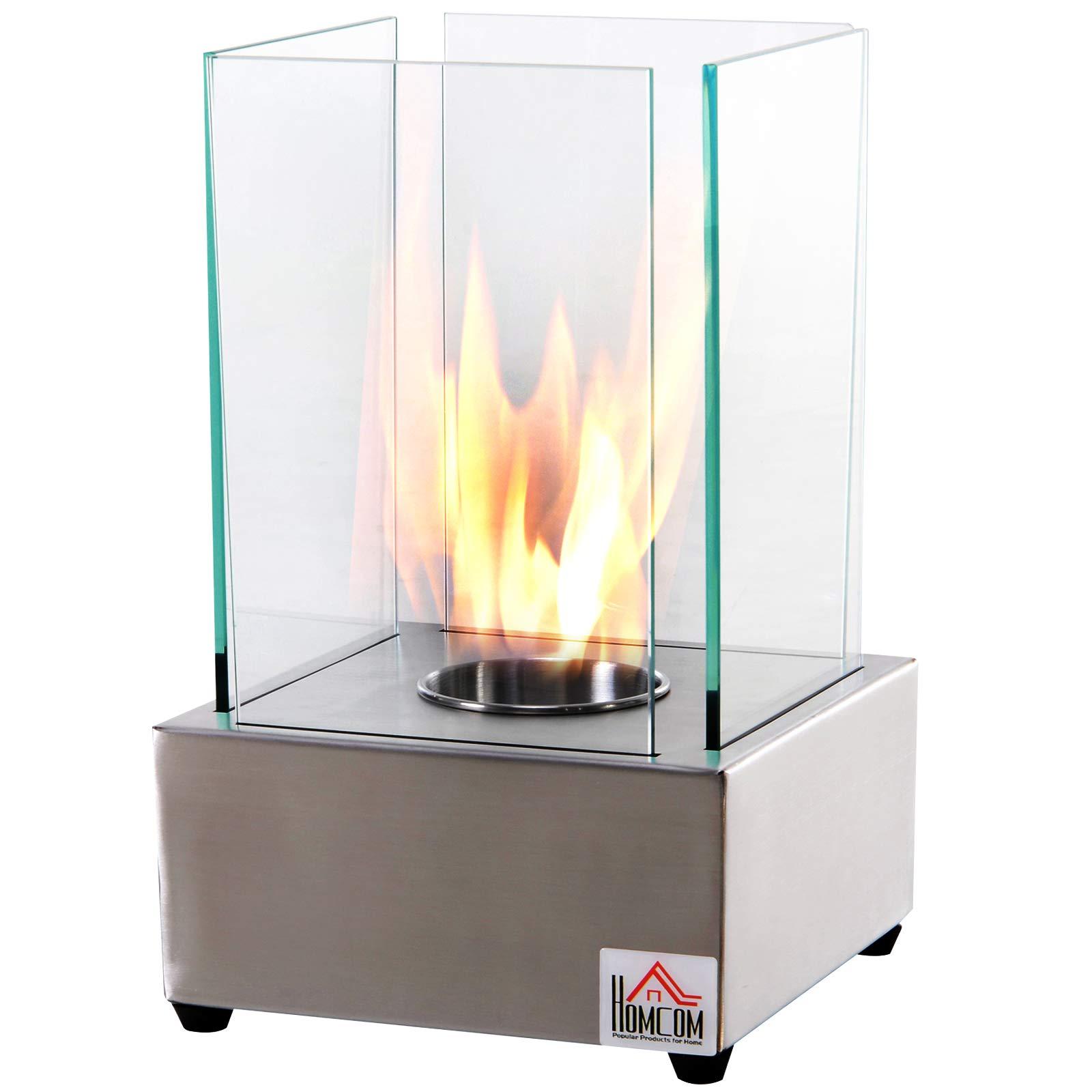 HOMCOM Freestanding Tabletop Ventless Bio Ethanol Fireplace Glass - Stainless Steel by HOMCOM