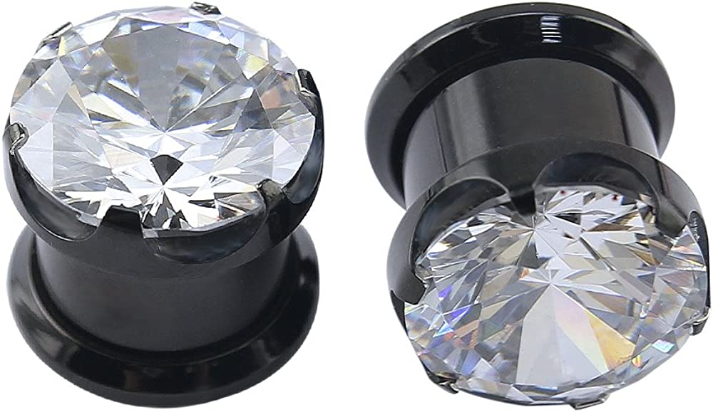 ZS Gorgeous Cubic Zirconia Tunnels Plugs 316L Stainless Steel Screw Tunnels Ear Expander Stretcher Piercing Ear Gauges Black Tunnel Gauges