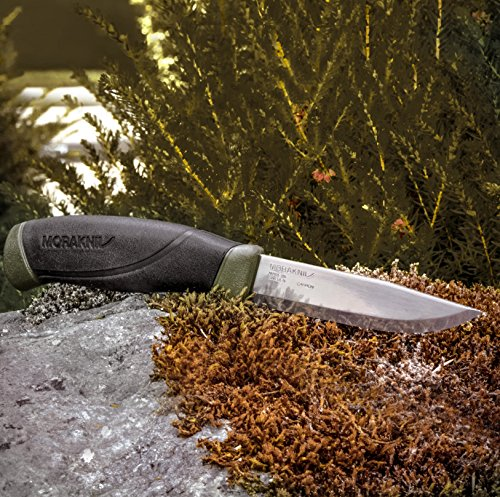 Morakniv 11863 Companion Fixed Blade Outdoor Knife with Carbon Steel Blade, 4.1 Inch, Military Green