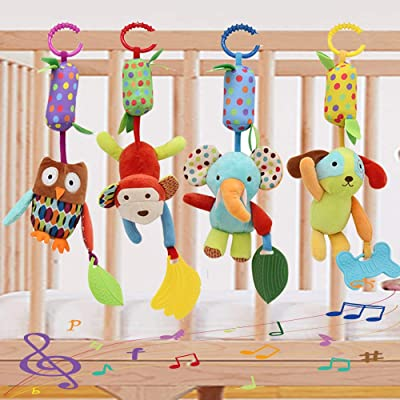 Baby Toy Soft Hanging Rattle Crinkle Squeaky Learning Toy with Teethers Plush Animal C-Clip Ring Infant Newborn Stroller Car Seat Crib Travel Activity Wind Chimes Hanging Toys for Boys Girls, 4 Pack: Toys & Games