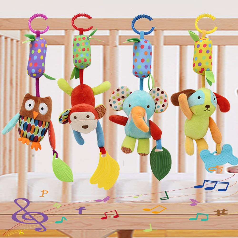 Baby Toy Soft Hanging Rattle Crinkle Squeaky Learning Toy with Teethers Plush Animal C-Clip Ring Infant Newborn Stroller Car Seat Crib Travel Activity Wind Chimes Hanging Toys for Boys Girls, 4 Pack by Binen