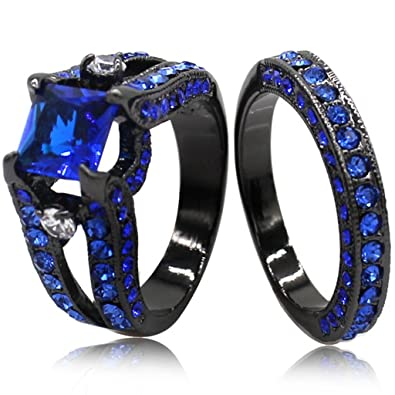black blue princess cut cubic zirconia wedding ring set 4 - Black And Blue Wedding Rings