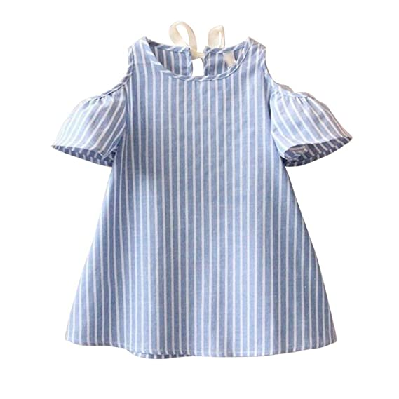 Vestido de niñas ,❤ Manadlian Niñas Vestidos a rayas de manga corta de Princesa