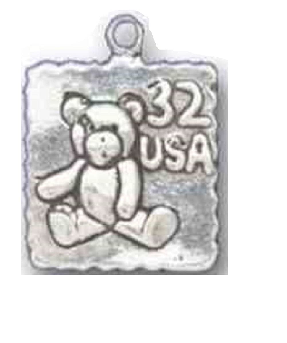 Sterling Silver Girls .8mm Box Chain 3D Teddy Bear Postage Stamp Pendant Necklace