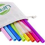 LIFNY Silicone Straws Reusable Straws 8Pcs Straight Smoothies Straws for 30&20OZ tumblers+4 Brushes+1 Linen Pouch