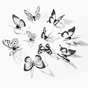 90 PCS 3D Butterfly Wall Stickers,Butterfly Decor PVC Crystal Butterfly,Art Decal Satin Paper Butterflies Home DIY Decor Removable Sticker,Bedroom Showcase Nursery Wall Art Decor(Black-White)
