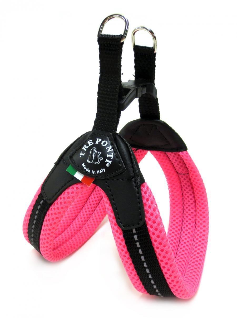 Pettorina Tre Ponti in rete Easy Fit con chiusura in plastica con inserti catarifrangenti Dal colore rosa fluo